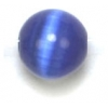 "Cat Eye Beads 8mm Round Blue Strand 16"" Fibre Optic"